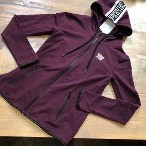 Pink Victoria's Secret zip up hooded sweatshirt